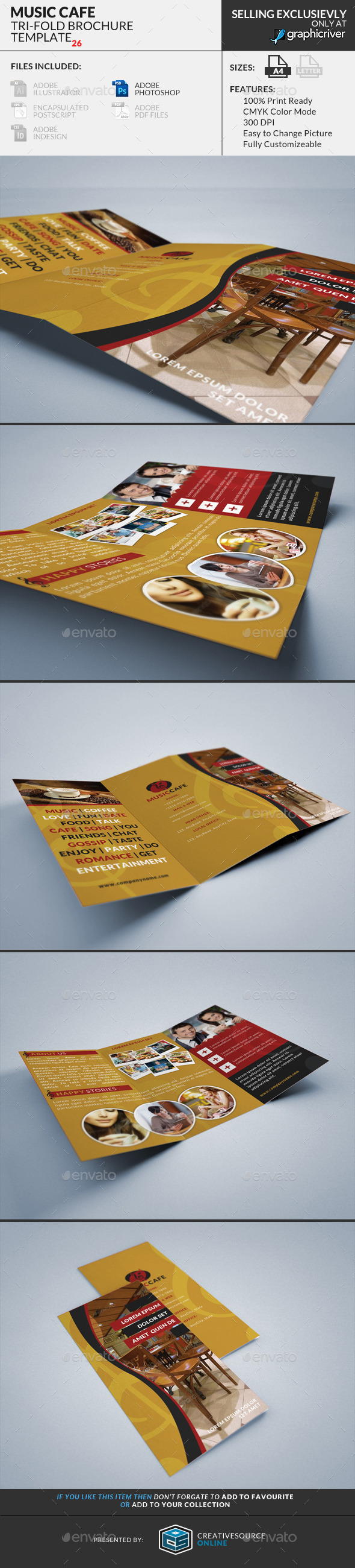 Trifold Brochure 26 : Music Cafe - Corporate Brochures