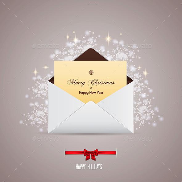 Envelope and Greeting Card Merry Christmas - Christmas Seasons/Holidays