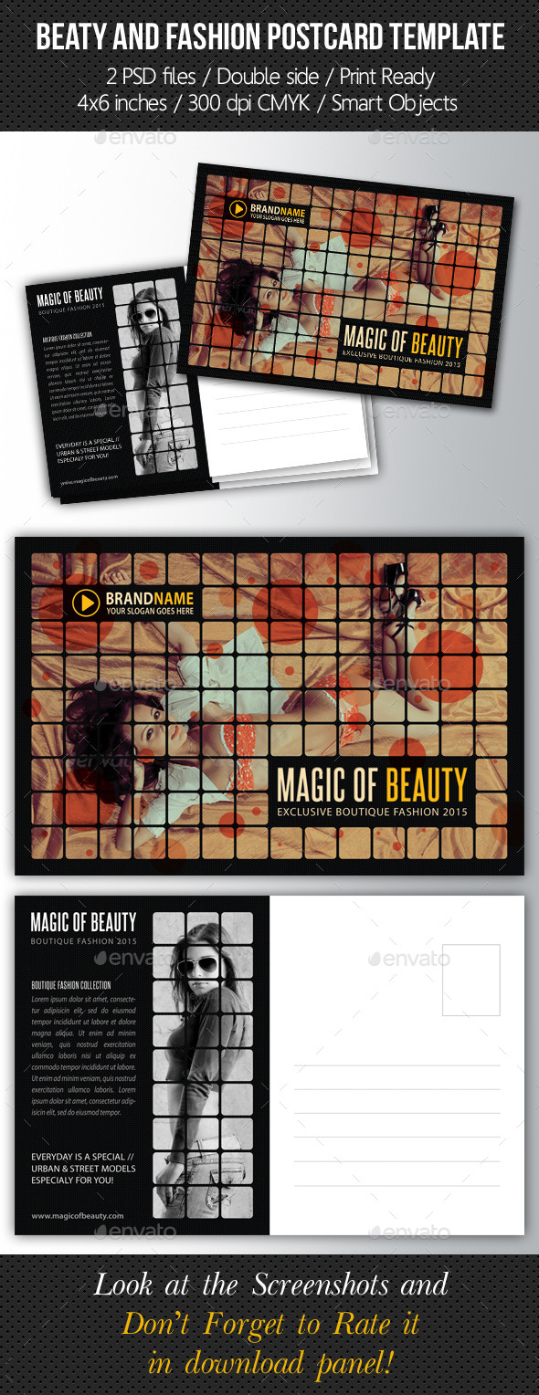 Fashion and Beauty Postcard Template - Cards & Invites Print Templates