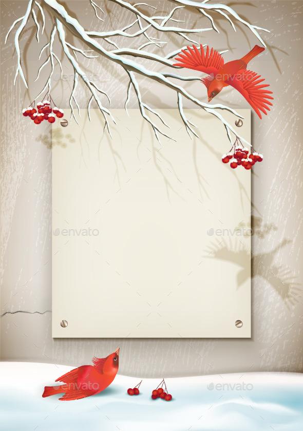 Winter Landscape with Birds - Seasons Nature