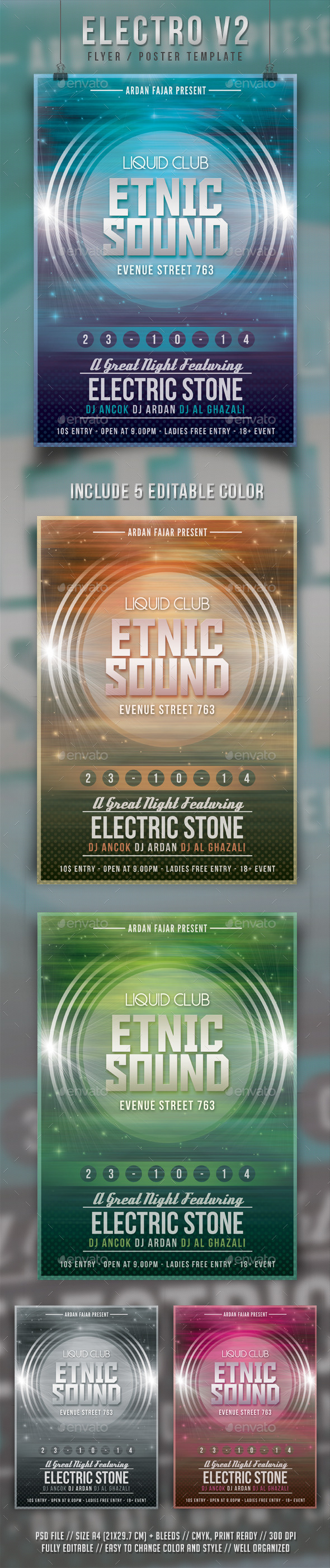 Electro V2 Flyer Template - Clubs & Parties Events