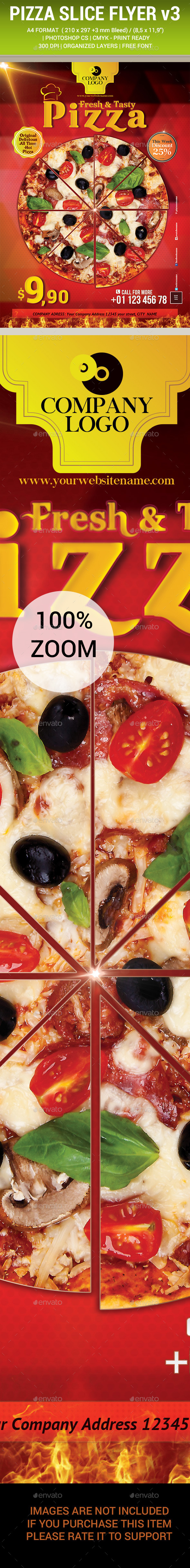 Pizza Slice Flyer v3 - Restaurant Flyers
