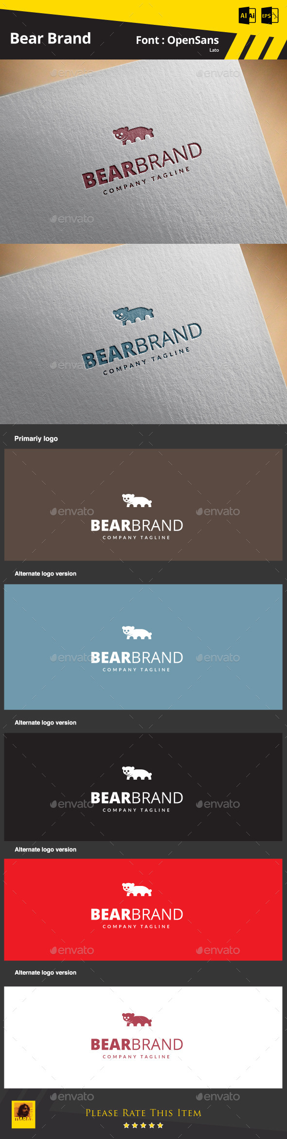 Bear Brand - Animals Logo Templates