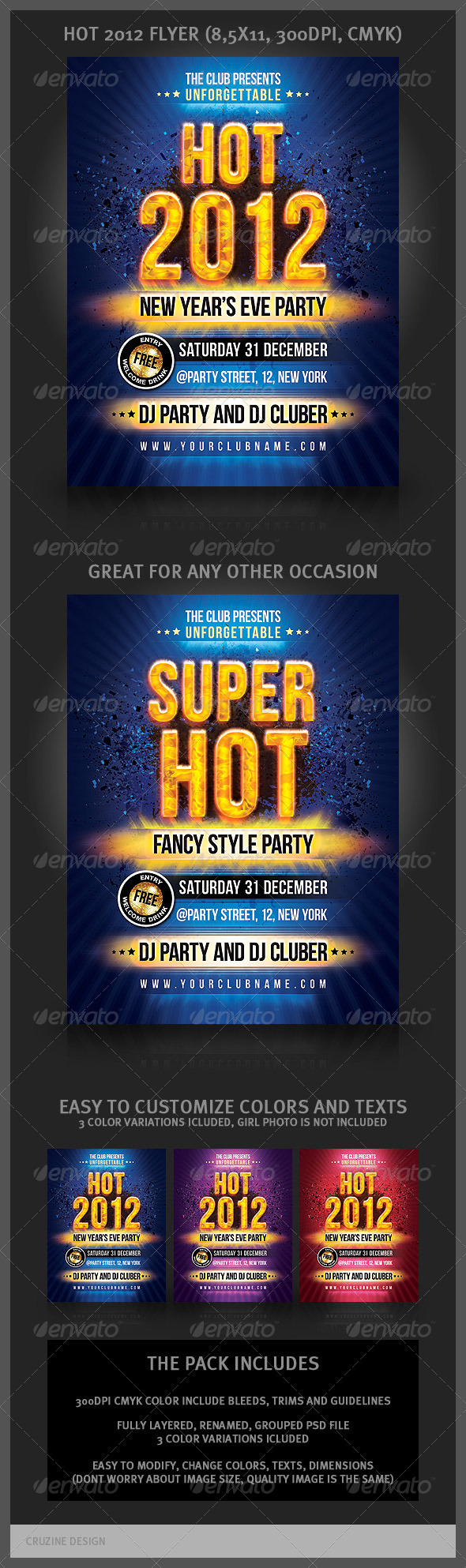 Hot New Year Party Flyer - Clubs & Parties Events