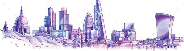 London Skyline - Buildings Objects