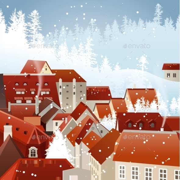 Winter City Landscape - Christmas Seasons/Holidays
