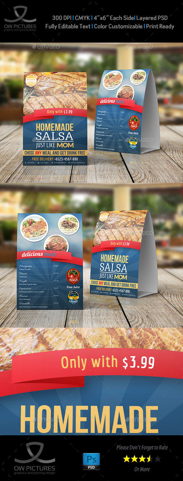 Restaurant and Cafe Table Tent Template Vol2 - Food Menus Print Templates