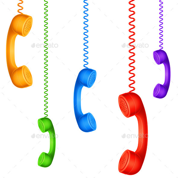 Colored Handsets - Objects Vectors