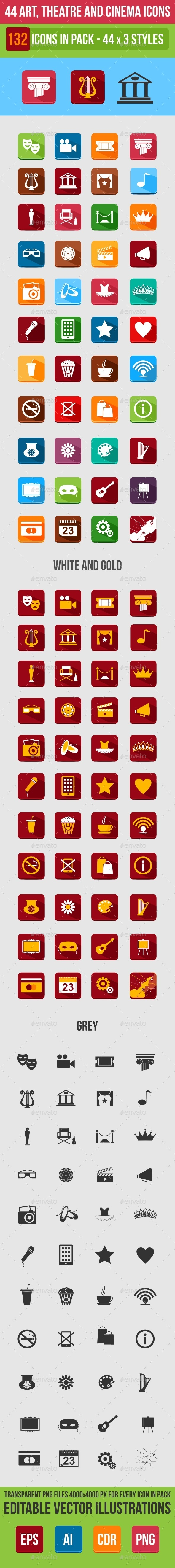 44 Art, Theater and Cinema Flat Icons - Web Icons