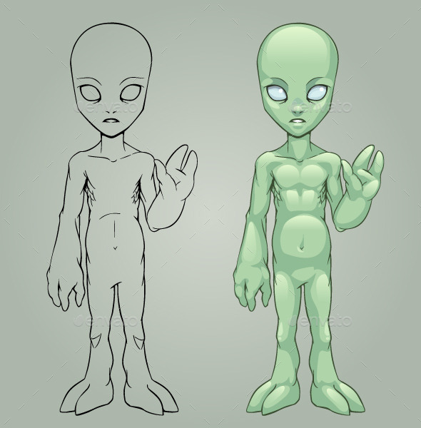 Green Alien - Monsters Characters