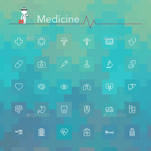 Medicine Line Icons - Objects Icons
