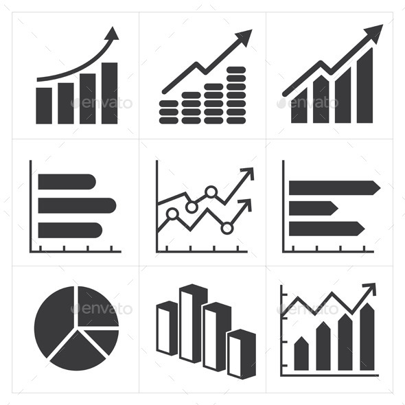 Icon Set of Diagram and Graphs Business  - Web Elements Vectors