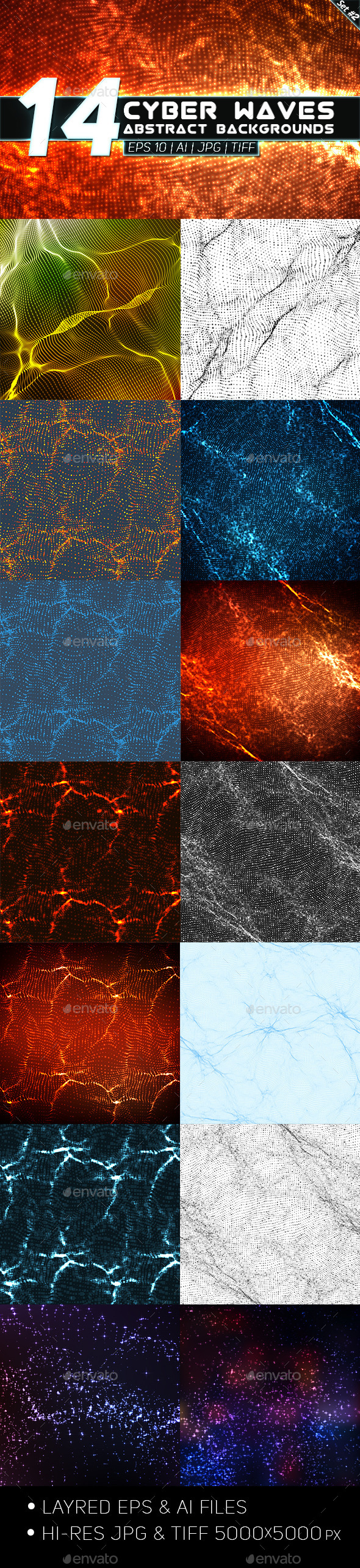 14 Abstract Cyber Waves Backgrounds Set 2 - Technology Conceptual