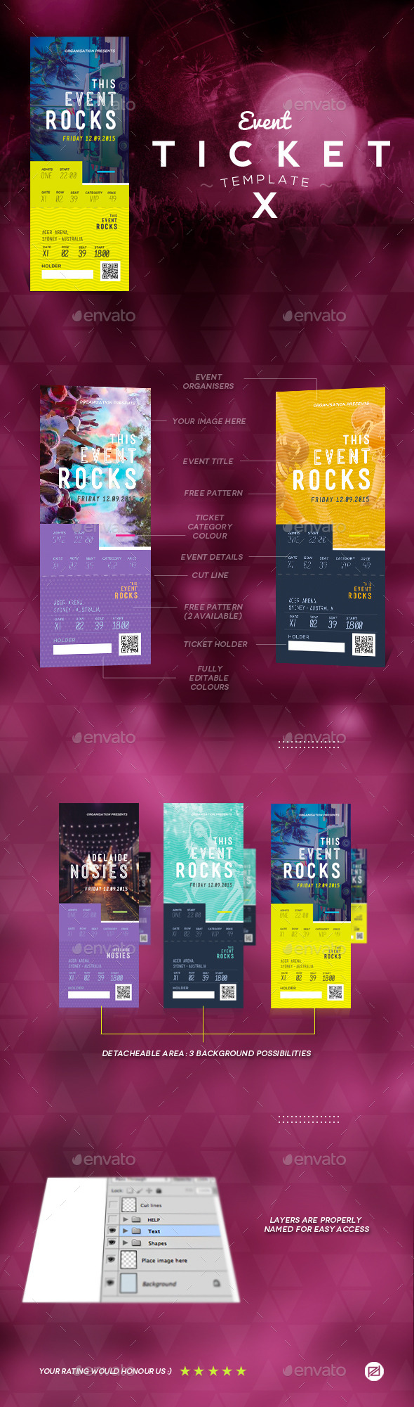 Event Tickets Template 10 - Miscellaneous Print Templates