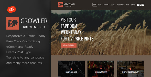Growler - Brewery WordPress Theme - Restaurants & Cafes Entertainment