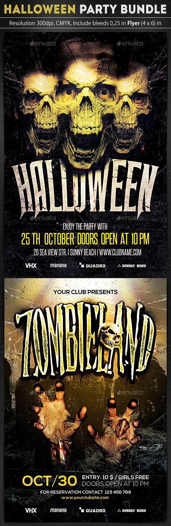 Halloween Flyers Bundle 2 in 1 - Clubs & Parties Events