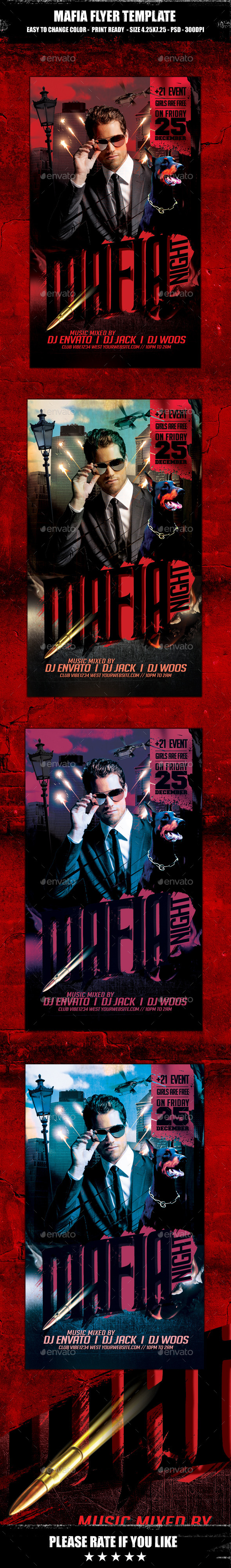 Mafia Flyer Template - Clubs & Parties Events