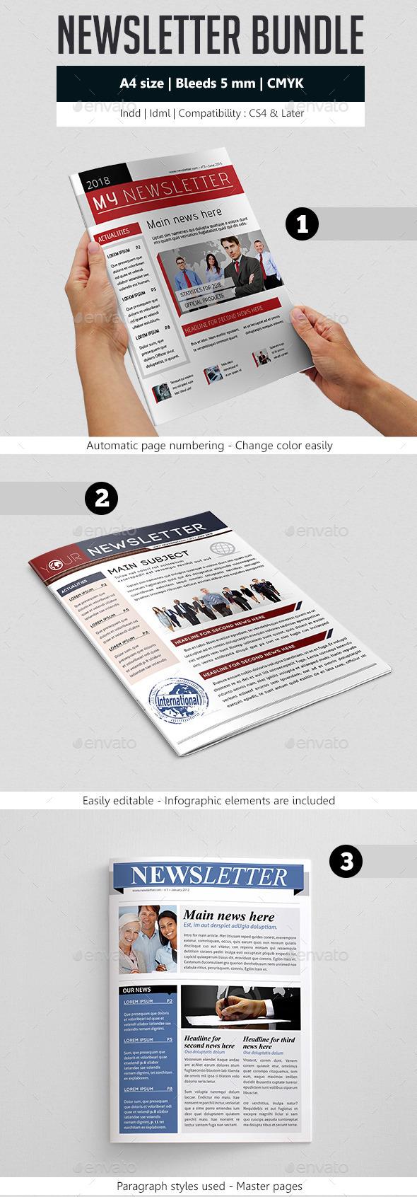 Indesign Newsletter Template Design Bundle - Newsletters Print Templates