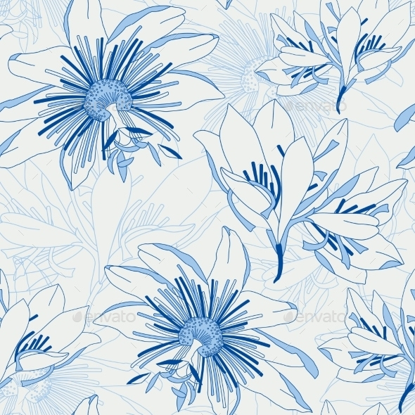Seamless Blue Pattern with Flowers Lily - Flowers & Plants Nature