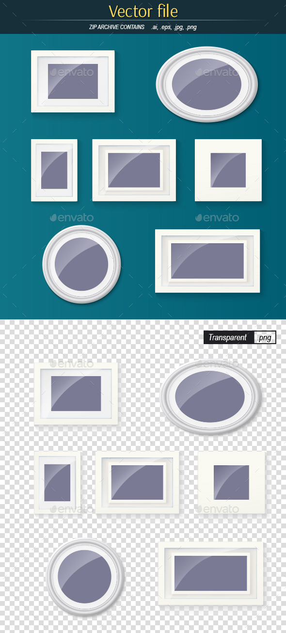 The Collection Frames for Paintings and Photograph - Objects Vectors