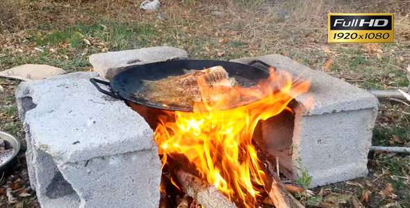 Cooking Fish On Campfire In Cast Iron Pan By Stockvideo