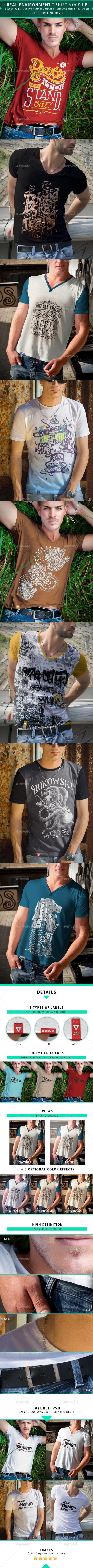 4 Real Environment Man T-shirt Mock-up - T-shirts Apparel