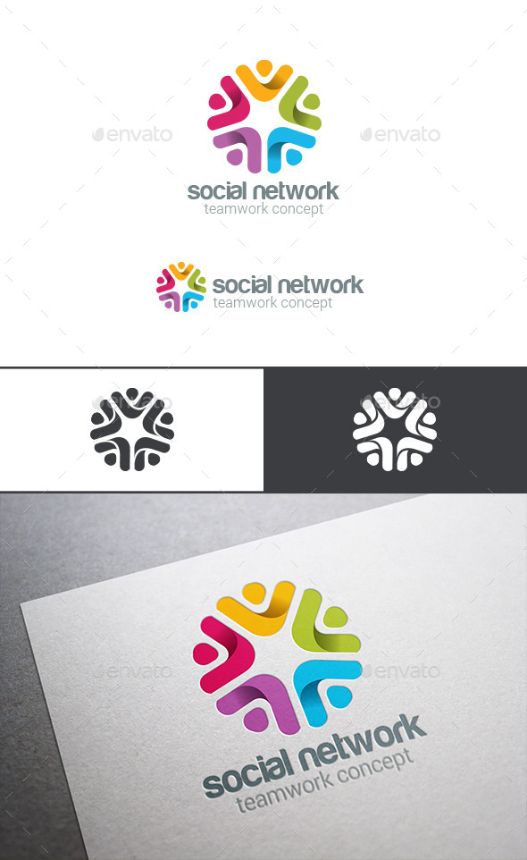 Social Team Work Web Media Logo - Abstract Logo Templates