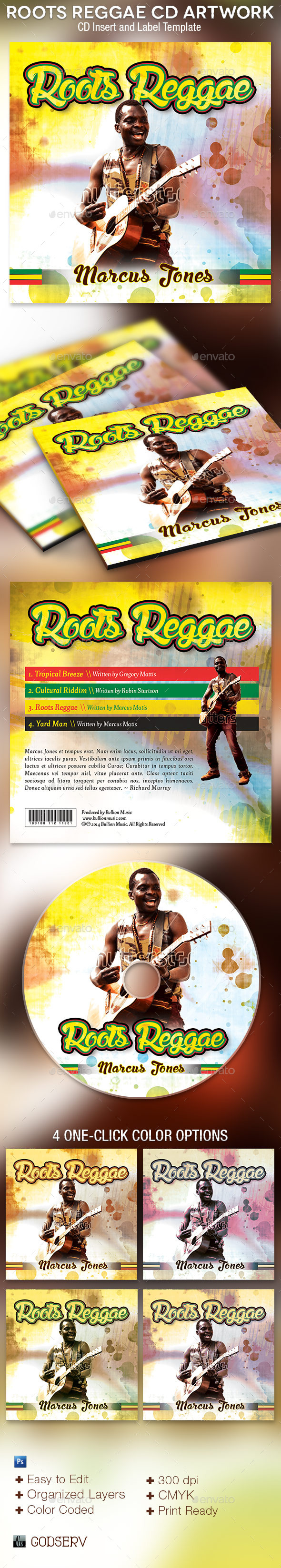 Roots Reggae CD Artwork Photoshop Template - CD & DVD Artwork Print Templates