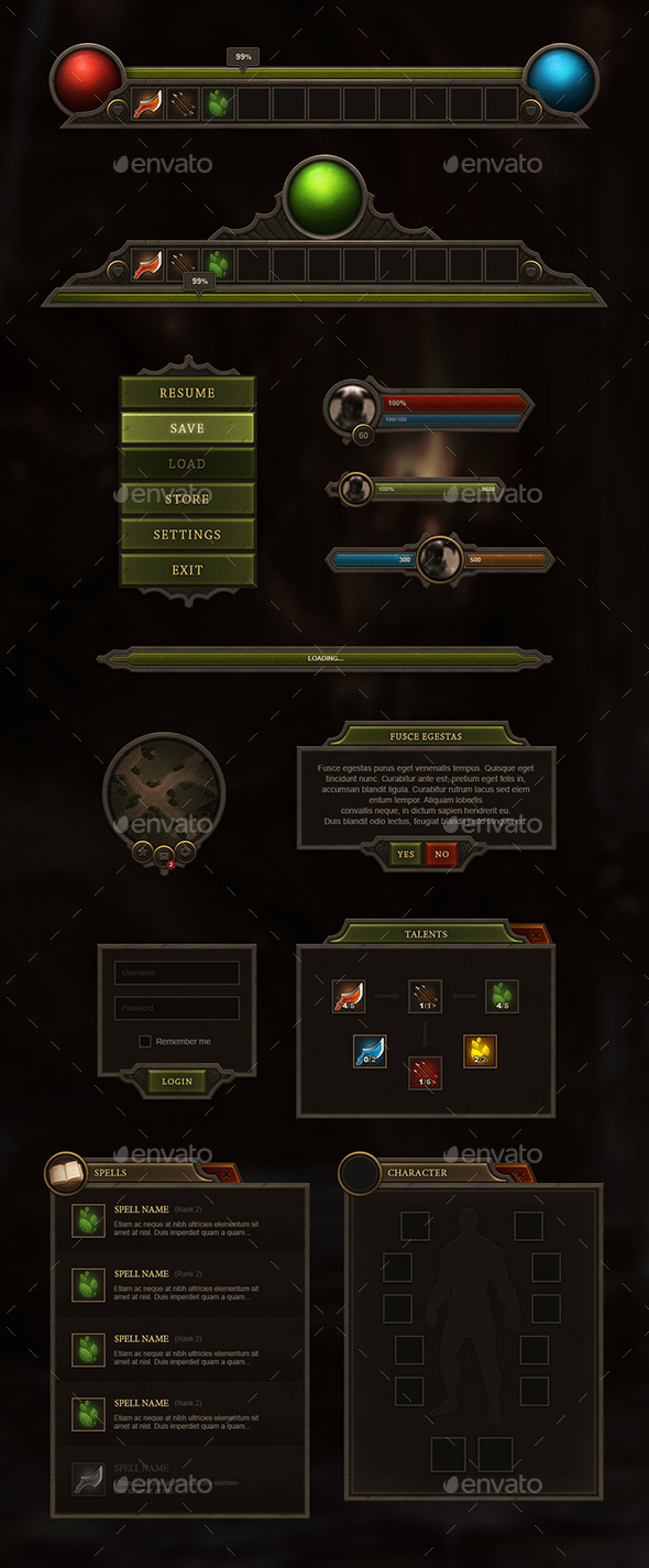 RPG & MMO User Interface - User Interfaces Game Assets