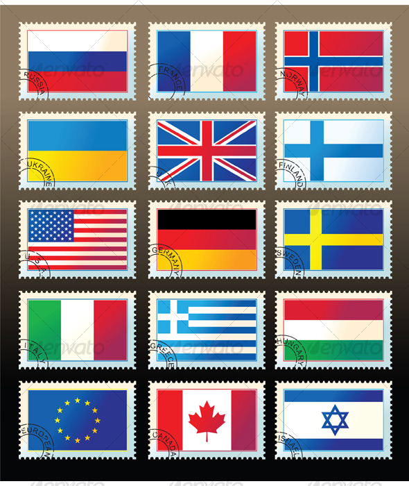 Several stamps with state flags - Miscellaneous Conceptual