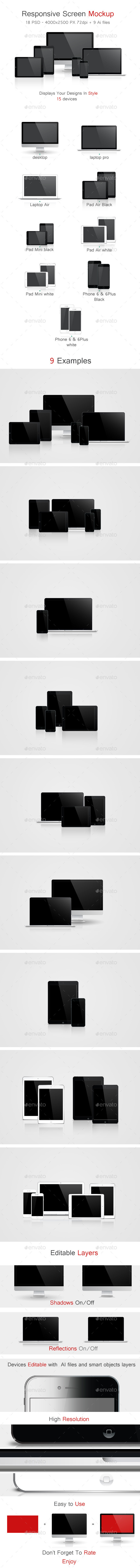 Responsive Screen Mockup - Multiple Displays