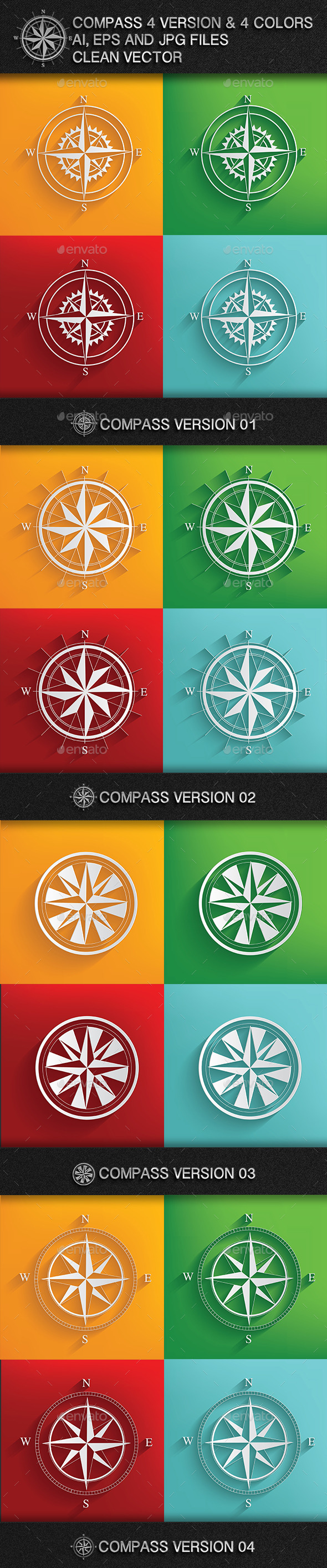 4 Compass & 4 Colours - Objects Vectors