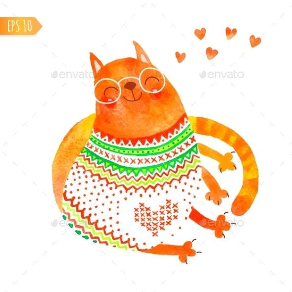 Watercolor Cat - Birthdays Seasons/Holidays