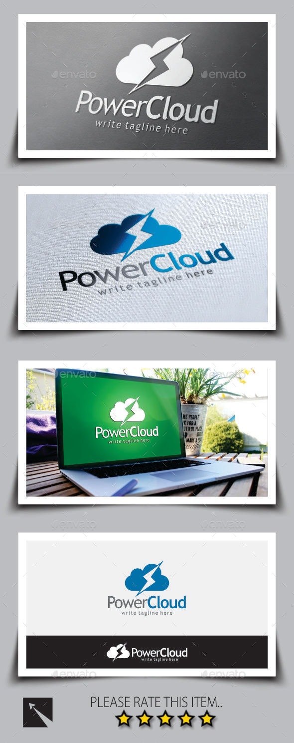 Power Bolt Cloud Logo Template - Symbols Logo Templates