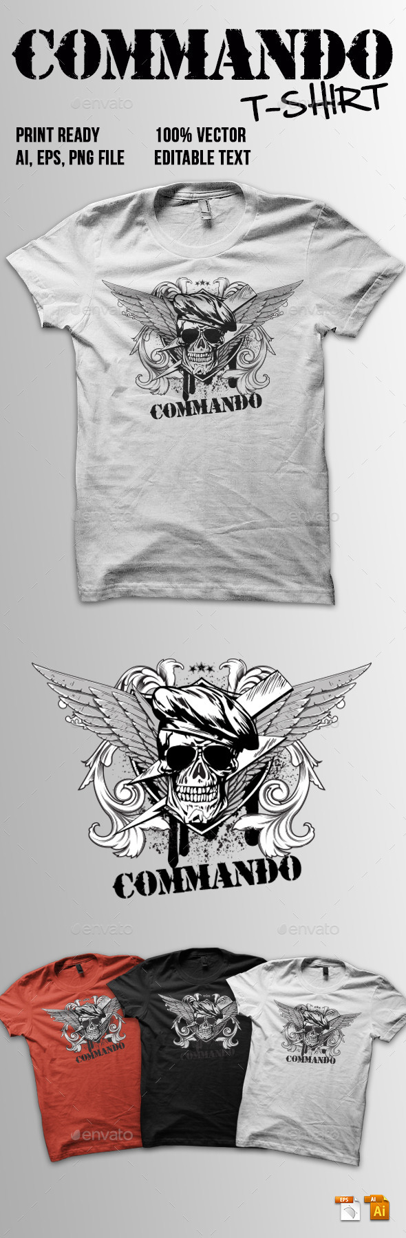 Commando T-Shirt - Grunge Designs