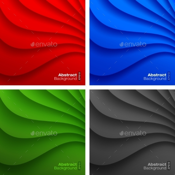Set of Colorful Wavy Backgrounds. - Miscellaneous Conceptual