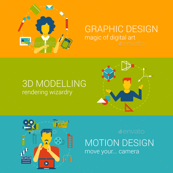 Design Process Professions Concept Flat Set Vector Infographics - People Characters