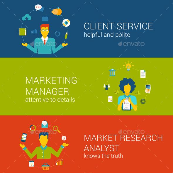 Marketing CRM Concept Flat Web Template Set Vector Infographics - Concepts Business