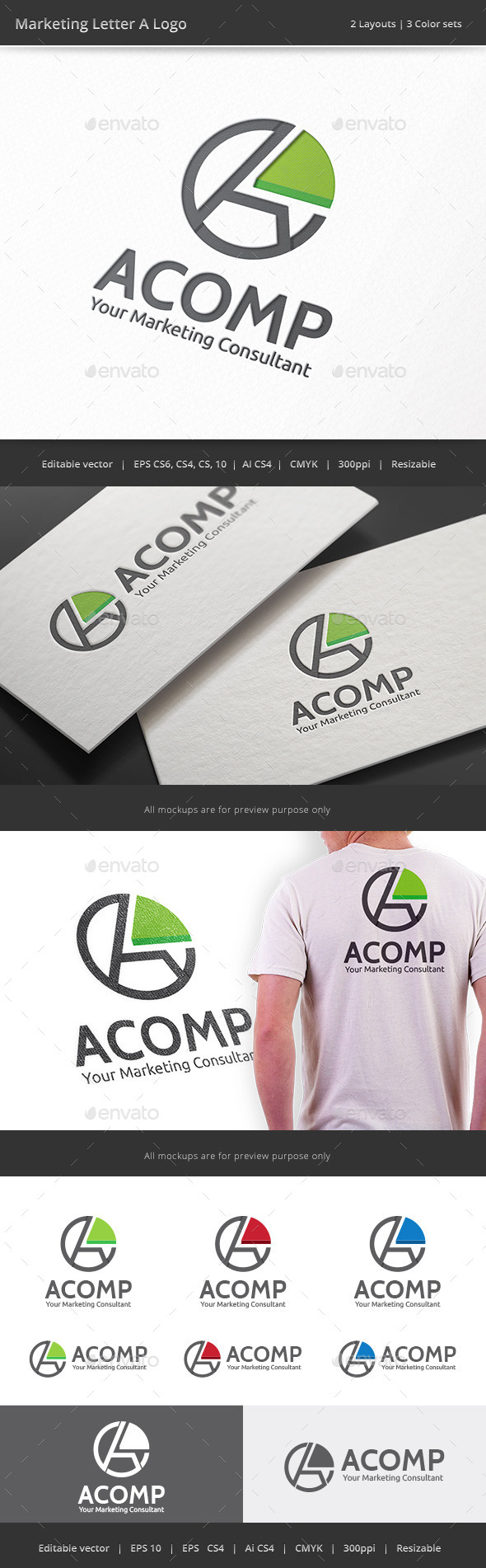 Marketing Letter A Logo - Letters Logo Templates