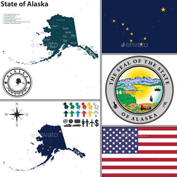 Map of State Alaska, USA - Travel Conceptual