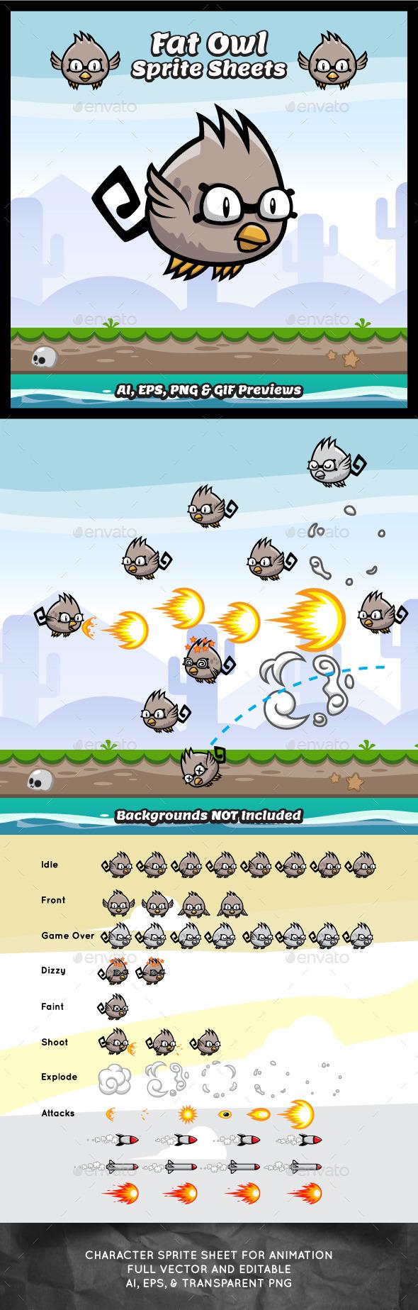 Fat Owl Sprite Sheets - Sprites Game Assets