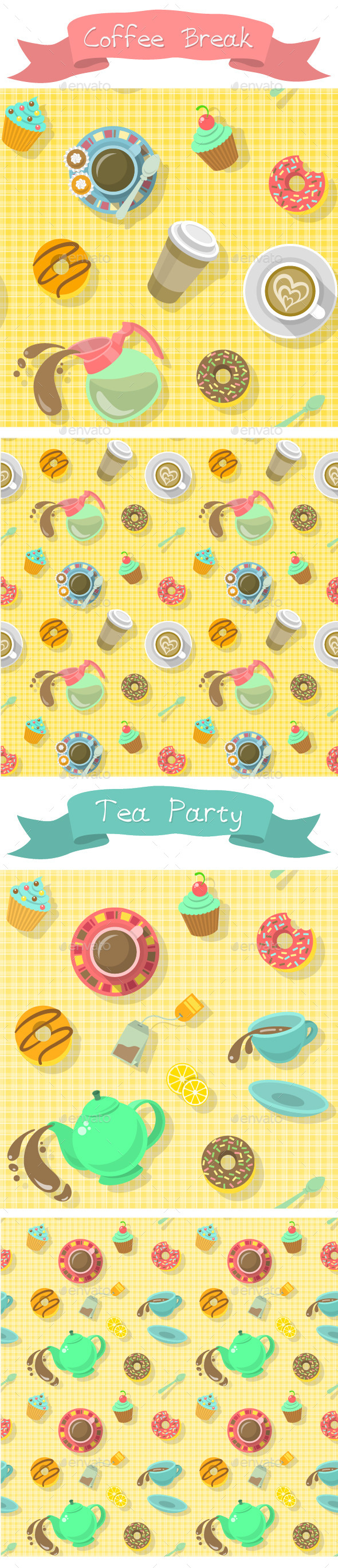 Coffee Break and Tea Party Patterns - Patterns Decorative