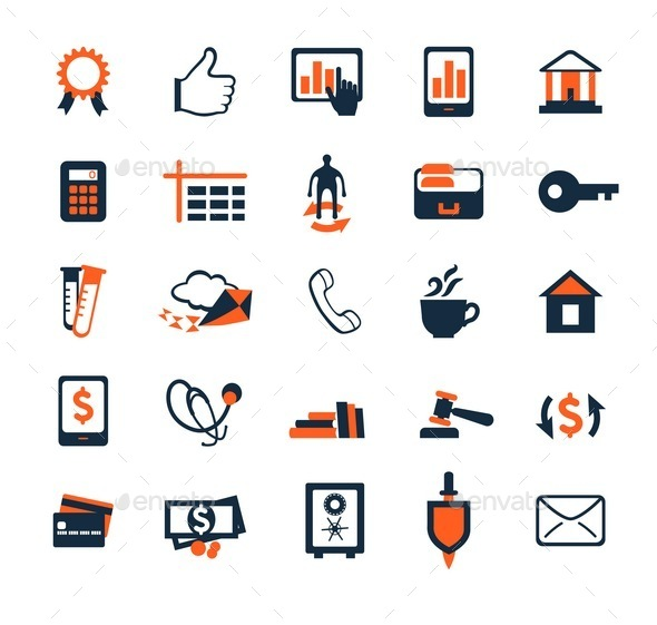Business Icon Set. Finance, Marketing, E-commerce. - Business Icons