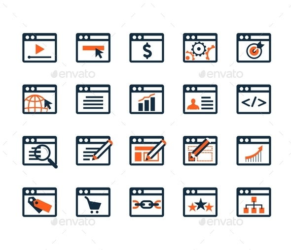 Icon Set. Web Development and SEO. Flat Design - Business Icons