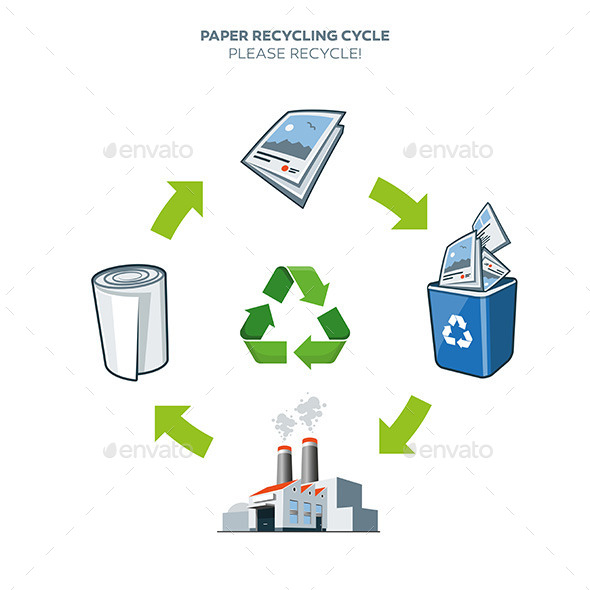Paper Recycling Cycle Illustration - Technology Conceptual