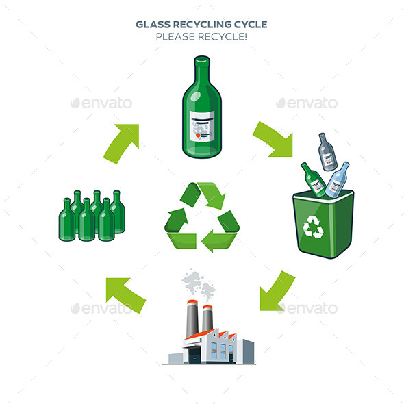 Glass Recycling Cycle Illustration - Technology Conceptual