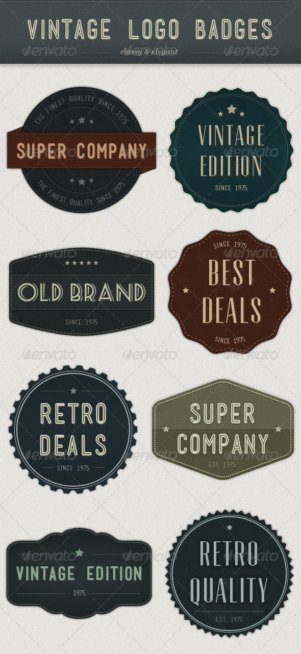 Modern Vintage Logo Badges - Badges & Stickers Web Elements