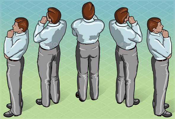 Isometric Thoughtful Standing Man in Rear View - People Characters