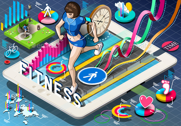 Isometric Infographic with Jogging Woman on Tablet - People Characters