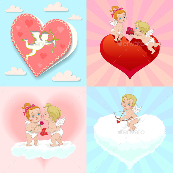 Set of Valentine's Day Angels and Greeting Card - Valentines Seasons/Holidays